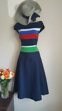 Off Shoulder Bardot Dress Size 18 20 Ralph Lauren XL Blue Red Green Fit & Flare