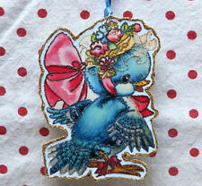 Glittered Wooden Christmas ORNAMENT~Blue Jay with Hat~Vintage Card Image`~