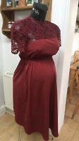 New Look Maternity Burgundy Lace Yoke Dress Sz 12 BNWT NEW stunning Party Smart