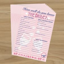 20 x How Well Do You Know The Bride? HEN NIGHT PARTY GAME Who Knows Bride Best