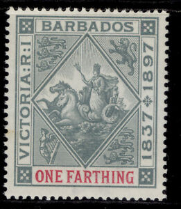 BARBADOS QV SG116, ¼d grey & carmine, LH MINT. Cat £10.