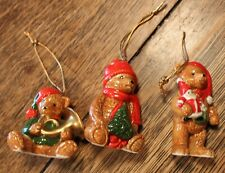 3 Vintage Schmid Ceramic Bear Christmas Ornaments Marked Schmid Japan 1980's