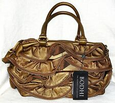 New Bodhi $698 Gold leather Zipper ruffle handbag purse large