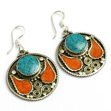 Earring Jewelry 1.5 to 3.5'' Ba7 Tibetan Turquoise, Coral Gemstone Silver Plated