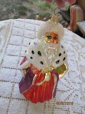 """Radko Blown Glass Ornament Santa Fur Hat Cape Purple Coat Gold/Green Box 7 1/2"""""""