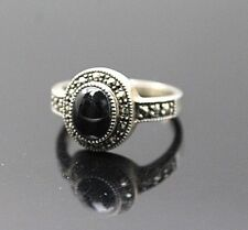 VINTAGE MARCASITE BLACK ONYX OVAL SHAPED STERLING SILVER RING SZ 10.25''