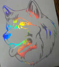 Custom Holographic Alaskan Malamute Dog Head Vinyl Car Window Decal Sticker