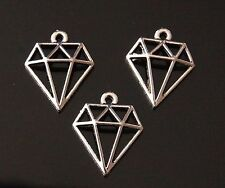 10 Tibetan Silver Hollow Diamond Shaped Charms Pendants (TSC55A)
