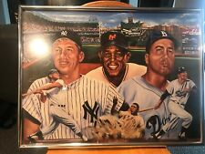 Mickey Mantle Duke Snider & Willy Mays Framed Print By Robert Stephen Simon 1986