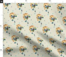 Southwestern Tribal Indian Headdress In Tan By Fabric Printed by Spoonflower BTY