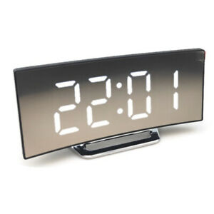 Creative Electronic Clock Large Screen Curved LED Mirror Clock Silent AlarmClock