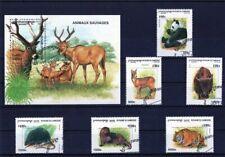 CAMBODGE 1999 ANIMAUX SAUVAGES WILD ANIMAL PANDA DEER TIGER FAUNA STAMPS MNH CTO