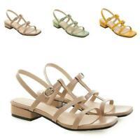 Womens Slingback Sandals Shoes Roma Buckle Open Toe Square Toe Block Leisure