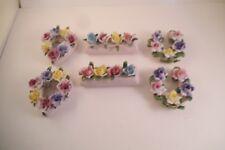 Vintage Lot of 6 Made in Japan Flower Basket Place Card Holders Figurines