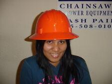 CASE OF 20 SAFETY  HARD HAT HELMET FULL BRIM SAFETY ORANGE RATCHET STYLE