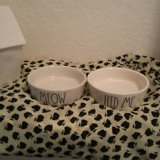 Rae Dunn Cat Dishes Meow Feed Me