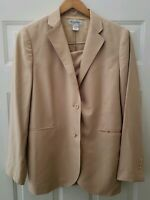 Brooks Brothers Womens Skirt 2 Button Suit Size 8 Silk Wool Beige Tan