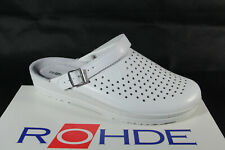Rohde Men's Mules Clogs Sabot White Width G Real Leather New
