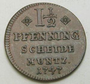 BRUNSWICK WOLFENBUTTEL 1-1/2 Pfennig 1747 - Copper - Karl I. - XF - 2009