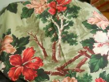Pair of Pleated Panels Vintage Hibiscus Floral Barkcloth Drapes Draperies