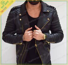 Men's Stylish Slim Fit Lambskin Genuine Leather Motorcycle Biker Jacket MJ24