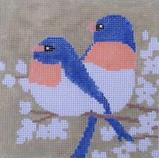 Mini Blue Birds - Hand Painted Needlepoint Canvas