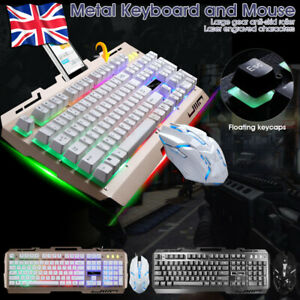 Gaming Keyboard And Mouse Set FCS LED Wired USB For PC PS4 Xbox One and 360