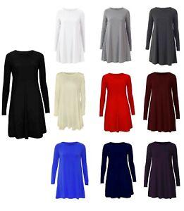 Women Ladies Long Sleeve Swing Dress Flared A Line Skater Dress Top
