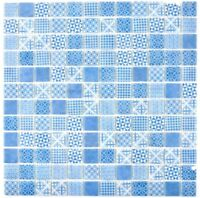 Retro Vintage Mosaik Fliese ECO Recycling GLAS ECO blau Dusche Wand 145-P-40_b