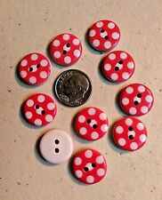 """10 RED with WHITE DOTS White Wood Buttons 5/8"""" (15mm) Scrapbook Crafts (2004)"""