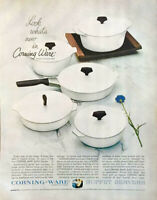 1964 Corning Ware Buffet Servers Cookware Print Ad Breathlessly White & Timeless