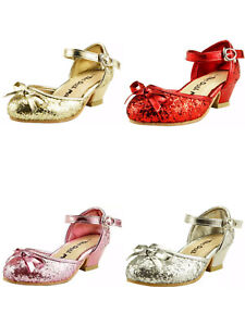 Flower Girl's Sparkly Wedding Party Dress Shoes Ankle Wrap Toddler Youth Pump