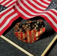 RARE Vintage AMERICAN FLAG 5 Flag holder BICYCLE ORNAMENT PLAQUE DISPLAY