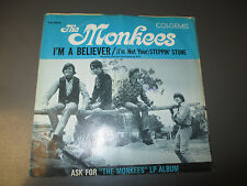 """1966 Monkees – I'm A Believer / Steppin' Stone 7"""" 45 1st EX/VG+ Colgems 66-1006"""