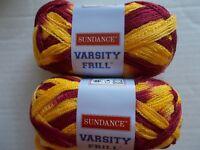 Sundance Varsity Frill ruffle mesh yarn, Garnet / Gold, lot of 2 (28 yds each)