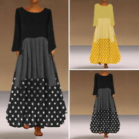 Mode Femme Automne Robe Dresse à Pois Vérifier Manche Longue Ample Party Plus
