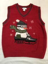 GREEN DOG BOYS RED SNOWMAN SWEATER VEST -- SZ 5