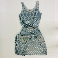 Vintage Surya Mod 2 Piece Blue Mixed Pattern Wrap Skirt Blouse Set Small Womens
