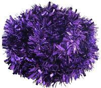2 x Purple Thick Chunky Luxury Tinsel Christmas Tree Decorations Xmas Garland 2m