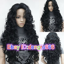 New Sexy Women's Long Black Wavy Curly Natural Hair Full wigs + wig gift