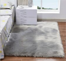 4'x6' Gray Soft Fluffy Faux Fur Sheepskin Rug Floor Mat Thick Fur Home Carpets