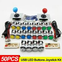 2 Players Arcade DIY Kit Parts USB Controller to PC Joystick LED Chrome Buttons