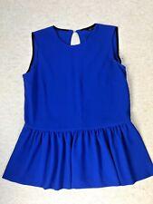 Zara Woman Colbolt Blue Peplum Top Button Peekaboo Back Top Size M or 12 to 14