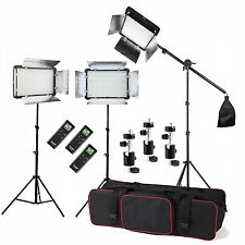 3x Godox 500 LED 3300-5600K Wireless Remote Video Light Kit + 2m Stand +Boom Arm