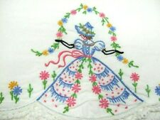 New listing Vintage Matching Set of Embroidered Southern Belle Pillowcases,Blue & Pink Dress