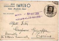 Cartolina Postale della ditta Bar Pasticceria Impero alla Carpano di Torino 1939