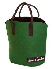 Filztasche dunkelgrün u. braun Rund H 47cm Aufbewahrungstasche Korb Gartendeko