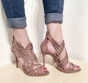 Zara Pink Suede Openwork Laser Cut High Heel Sandal Shoes UK8 EU41 US10 # 172