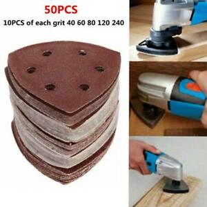 50PCS Triangle Sanding Pads Assorted Sandpaper for Multi Tool Oscillating Loop