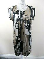 Brandtex dress new with tags size 14 beige black cream kimono sleeves unusual.